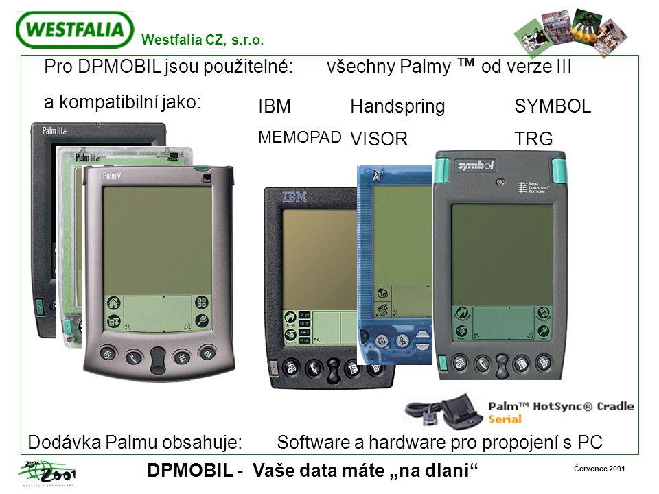 """Westfalia CZ, s.r.o. Červenec 2001 DPMOBIL - Vaše data máte """"na dlani"""" Pro DPMOBIL jsou použitelné: všechny Palmy ™ od verze III a kompatibilní jako:"""