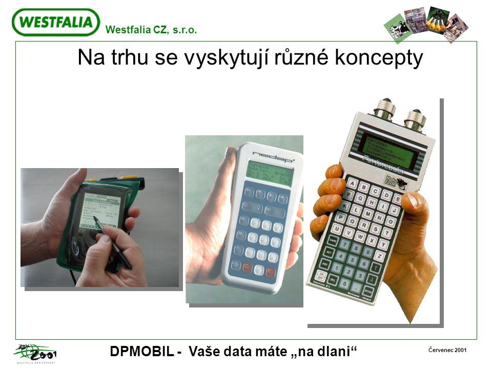 """Westfalia CZ, s.r.o. Červenec 2001 DPMOBIL - Vaše data máte """"na dlani"""" Na trhu se vyskytují různé koncepty"""