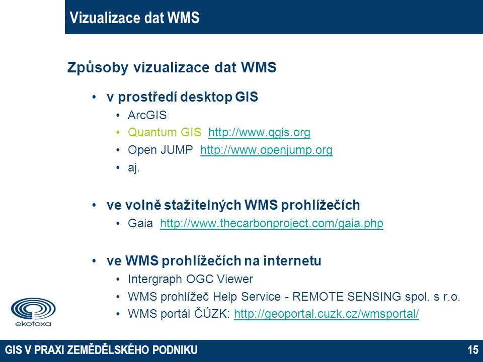 GIS V PRAXI ZEMĚDĚLSKÉHO PODNIKU15 Vizualizace dat WMS Způsoby vizualizace dat WMS v prostředí desktop GIS ArcGIS Quantum GIS http://www.qgis.orghttp: