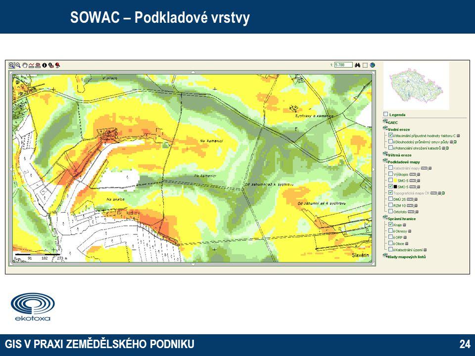 GIS V PRAXI ZEMĚDĚLSKÉHO PODNIKU24 SOWAC – Podkladové vrstvy