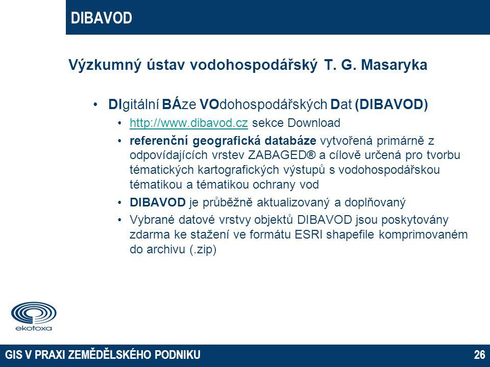GIS V PRAXI ZEMĚDĚLSKÉHO PODNIKU26 DIBAVOD Výzkumný ústav vodohospodářský T. G. Masaryka DIgitální BÁze VOdohospodářských Dat (DIBAVOD) http://www.dib