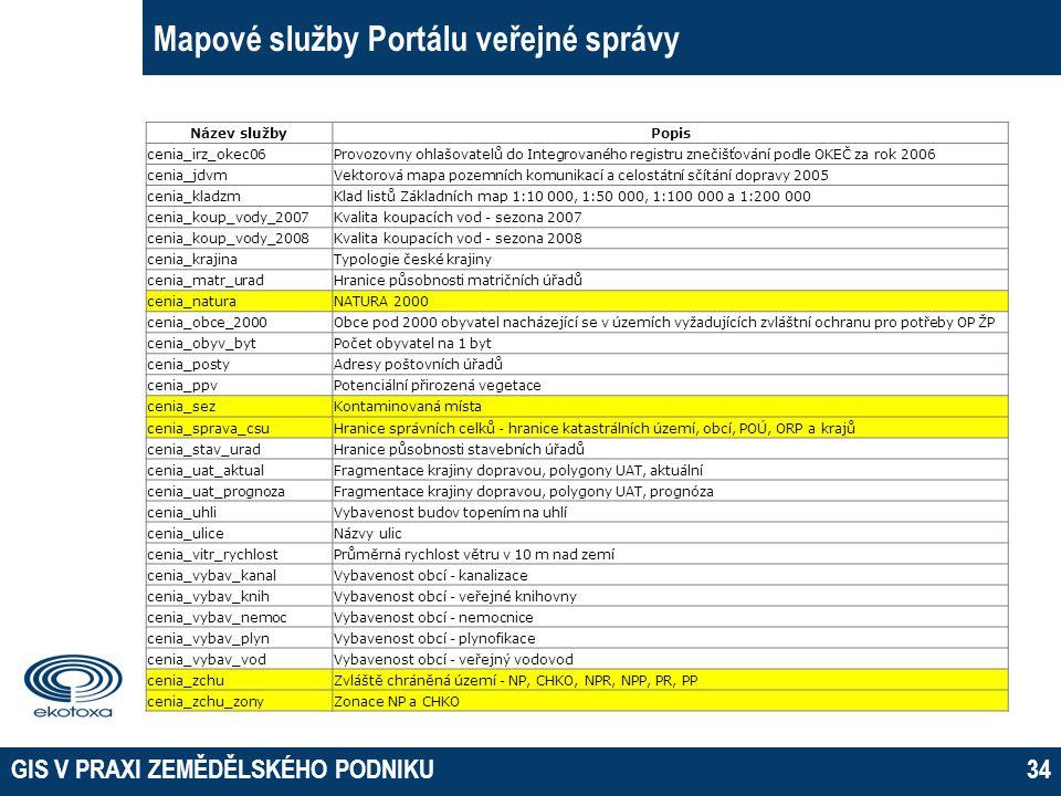 GIS V PRAXI ZEMĚDĚLSKÉHO PODNIKU34 Mapové služby Portálu veřejné správy Název službyPopis cenia_irz_okec06Provozovny ohlašovatelů do Integrovaného reg