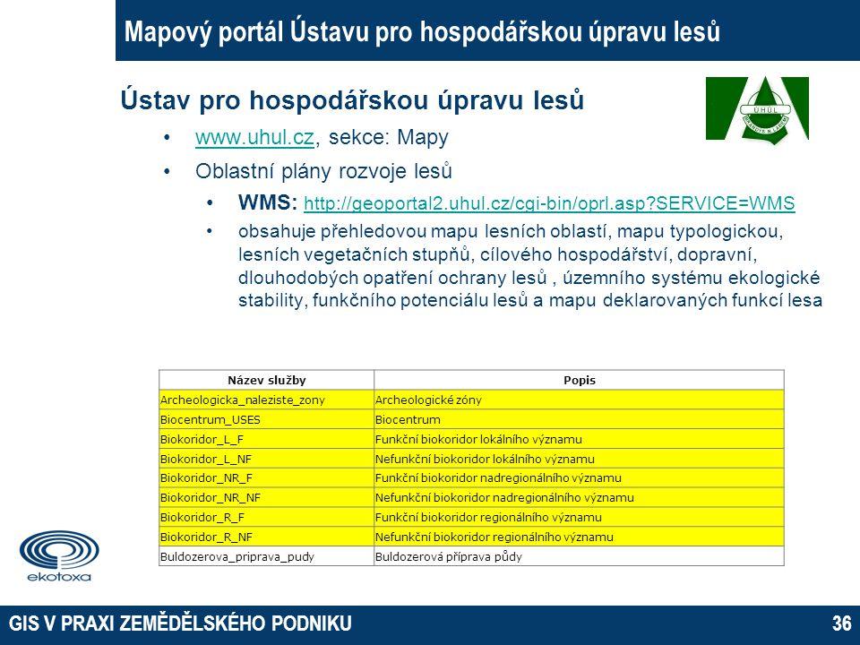 GIS V PRAXI ZEMĚDĚLSKÉHO PODNIKU36 Mapový portál Ústavu pro hospodářskou úpravu lesů Ústav pro hospodářskou úpravu lesů www.uhul.cz, sekce: Mapywww.uh