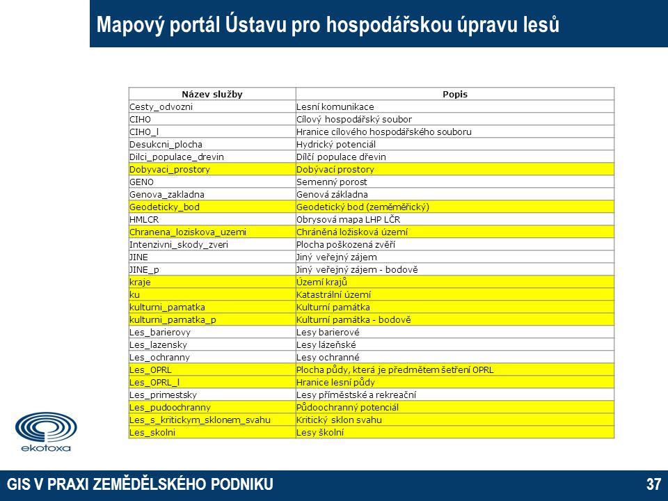 GIS V PRAXI ZEMĚDĚLSKÉHO PODNIKU37 Mapový portál Ústavu pro hospodářskou úpravu lesů Název službyPopis Cesty_odvozniLesní komunikace CIHOCílový hospod