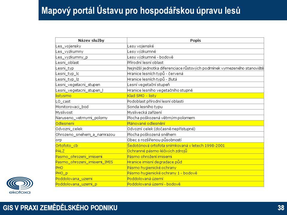 GIS V PRAXI ZEMĚDĚLSKÉHO PODNIKU38 Mapový portál Ústavu pro hospodářskou úpravu lesů Název službyPopis Les_vojenskyLesy vojenské Les_vyzkumnyLesy výzk