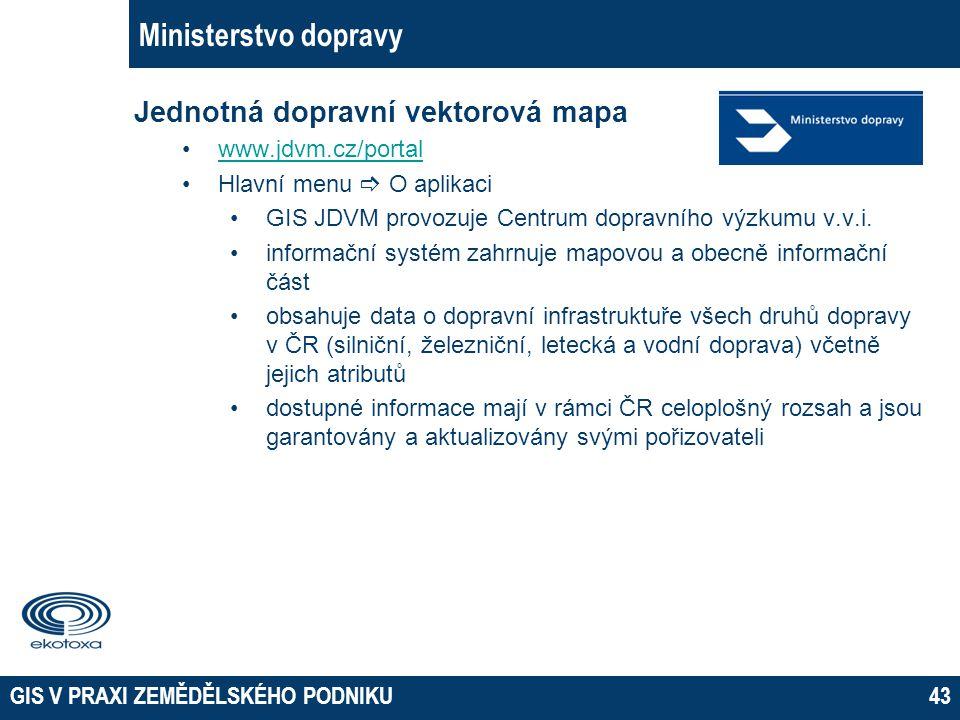 GIS V PRAXI ZEMĚDĚLSKÉHO PODNIKU43 Ministerstvo dopravy Jednotná dopravní vektorová mapa www.jdvm.cz/portal Hlavní menu  O aplikaci GIS JDVM provozuj