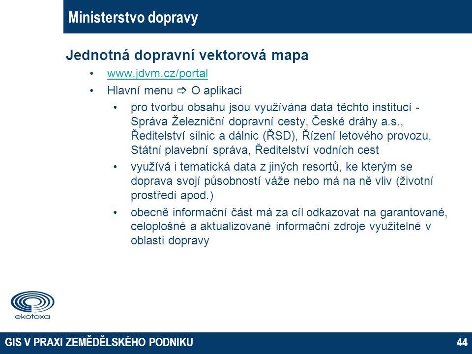GIS V PRAXI ZEMĚDĚLSKÉHO PODNIKU44 Ministerstvo dopravy Jednotná dopravní vektorová mapa www.jdvm.cz/portal Hlavní menu  O aplikaci pro tvorbu obsahu