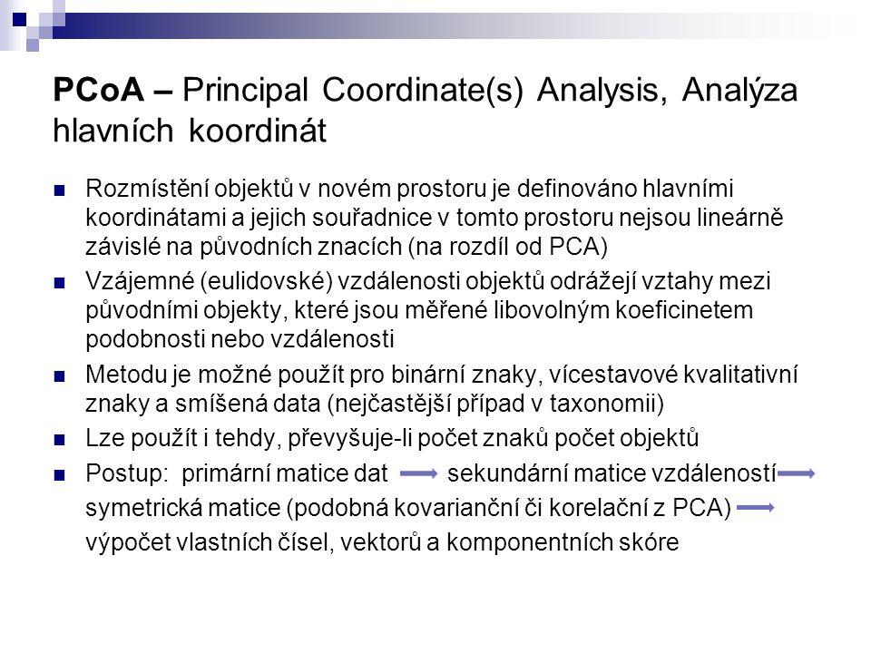 PCoA – Principal Coordinate(s) Analysis, Analýza hlavních koordinát Rozmístění objektů v novém prostoru je definováno hlavními koordinátami a jejich s