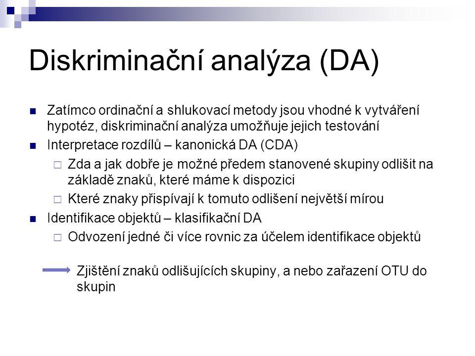 Diskriminační analýza (DA) Zatímco ordinační a shlukovací metody jsou vhodné k vytváření hypotéz, diskriminační analýza umožňuje jejich testování Inte