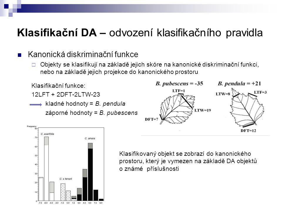 Klasifikační DA – odvození klasifikačního pravidla Kanonická diskriminační funkce  Objekty se klasifikují na základě jejich skóre na kanonické diskri