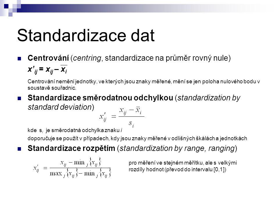 Standardizace dat Centrování (centring, standardizace na průměr rovný nule) x' ij = x ij – x i Centrování nemění jednotky, ve kterých jsou znaky měřen