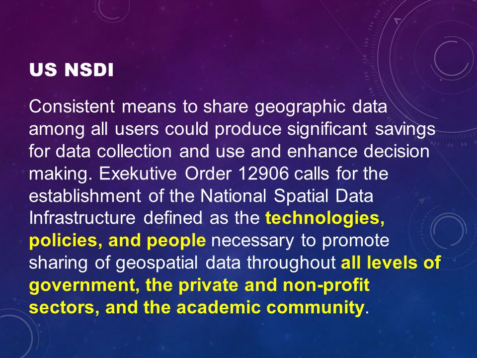 US NSDI Consistent means to share geographic data among all users could produce significant savings for data collection and use and enhance decision making.