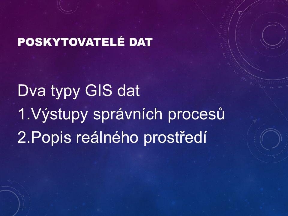 POSKYTOVATELÉ DAT Dva typy GIS dat 1.Výstupy správních procesů 2.Popis reálného prostředí