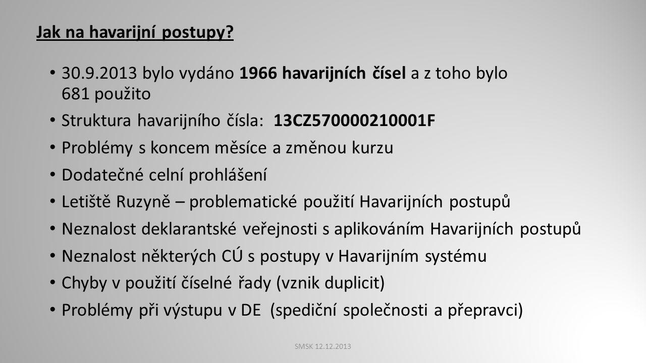 Nezjednodušený postup CÚ požádá HelpDesk o přidělení havarijních čísel Deklarant vyplní JSD Dostaví se s dokladem a zbožím na CÚ, který podání projedn