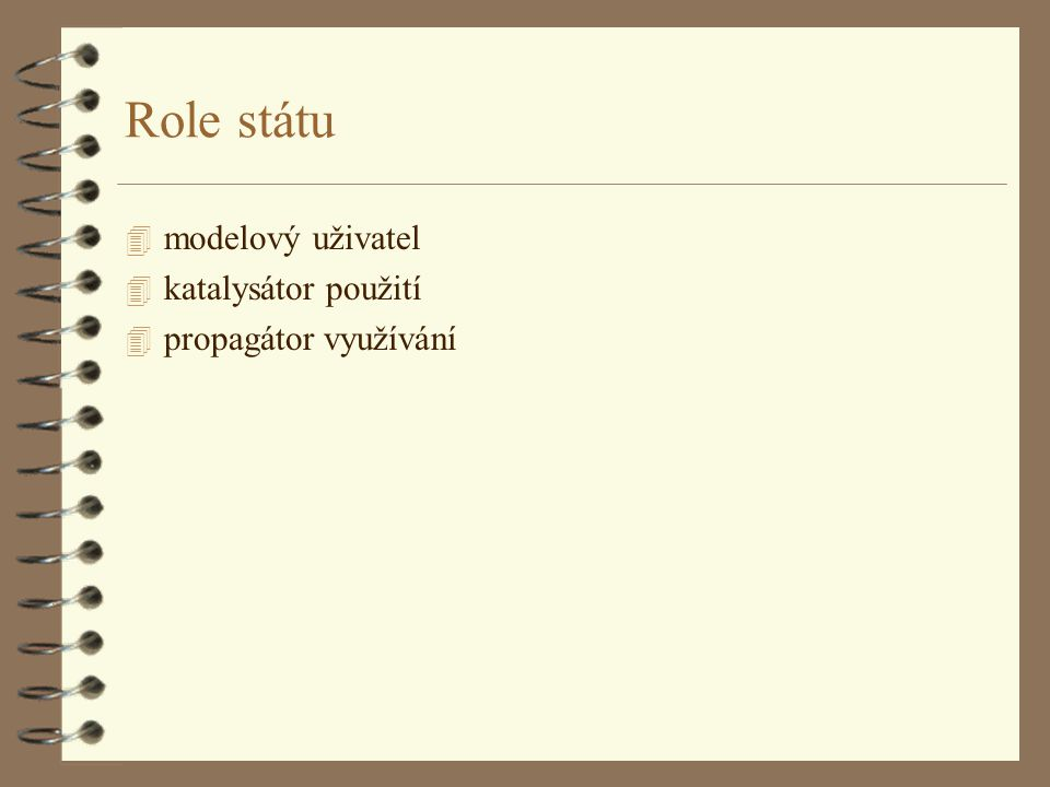 Role státu 4 modelový uživatel 4 katalysátor použití 4 propagátor využívání