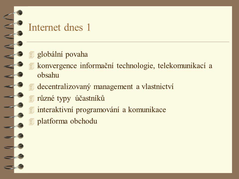Internet dnes 1 4 globální povaha 4 konvergence informační technologie, telekomunikací a obsahu 4 decentralizovaný management a vlastnictví 4 různé typy účastníků 4 interaktivní programování a komunikace 4 platforma obchodu