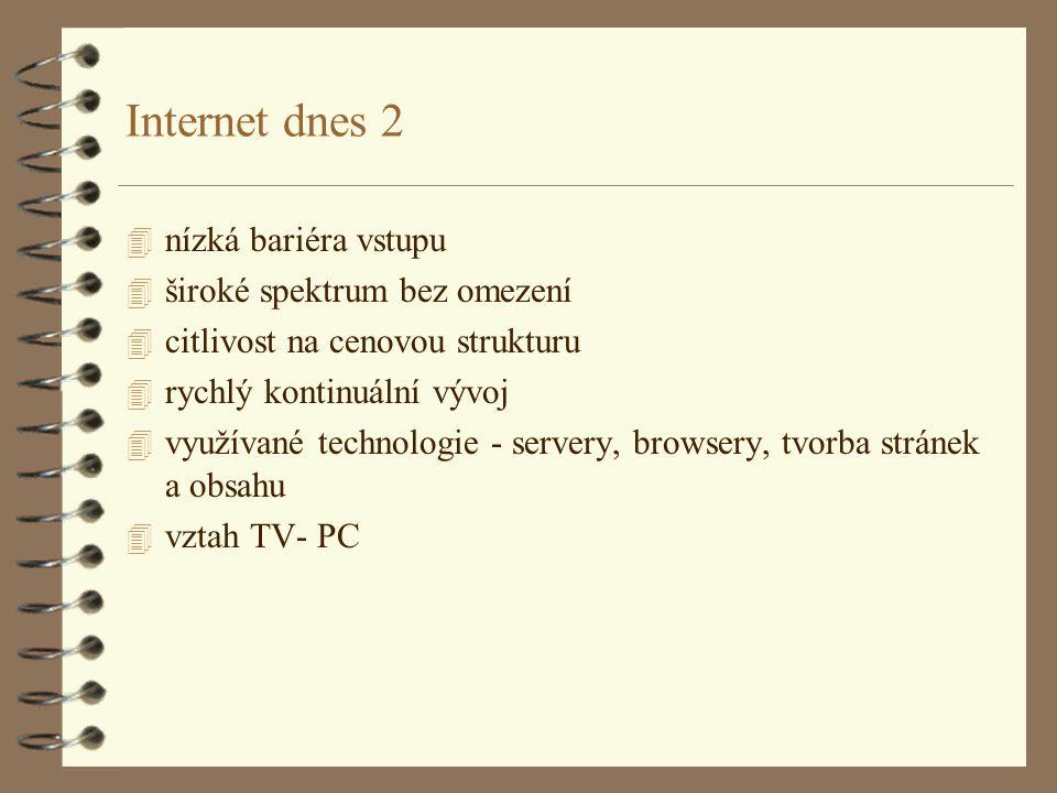 Internet dnes 2 4 nízká bariéra vstupu 4 široké spektrum bez omezení 4 citlivost na cenovou strukturu 4 rychlý kontinuální vývoj 4 využívané technologie - servery, browsery, tvorba stránek a obsahu 4 vztah TV- PC