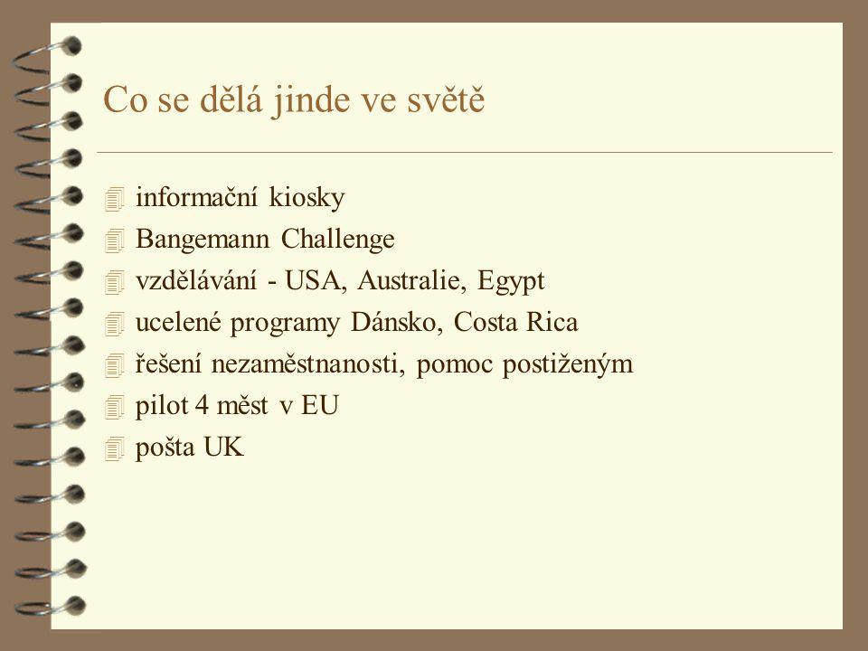 Co se dělá jinde ve světě 4 informační kiosky 4 Bangemann Challenge 4 vzdělávání - USA, Australie, Egypt 4 ucelené programy Dánsko, Costa Rica 4 řešení nezaměstnanosti, pomoc postiženým 4 pilot 4 měst v EU 4 pošta UK