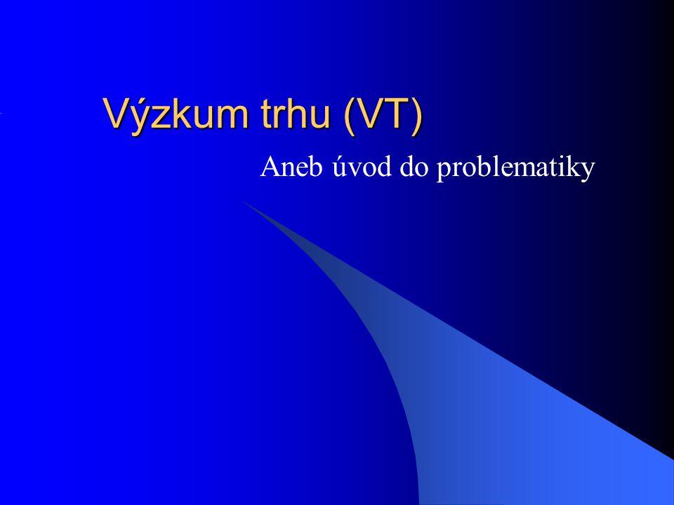 Výzkum trhu (VT) Aneb úvod do problematiky