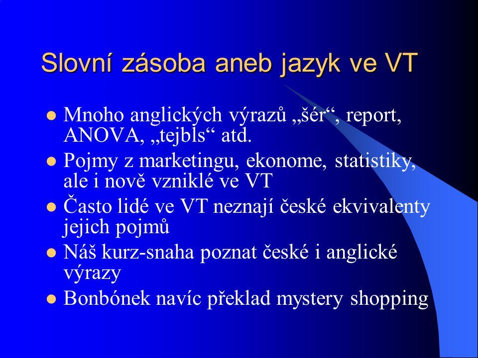 """Slovní zásoba aneb jazyk ve VT Mnoho anglických výrazů """"šér , report, ANOVA, """"tejbls atd."""