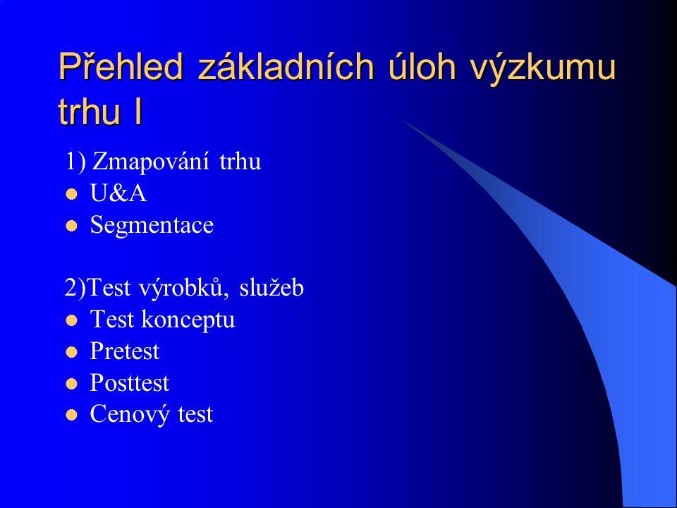 Přehled základních úloh výzkumu trhu I 1) Zmapování trhu U&A Segmentace 2)Test výrobků, služeb Test konceptu Pretest Posttest Cenový test