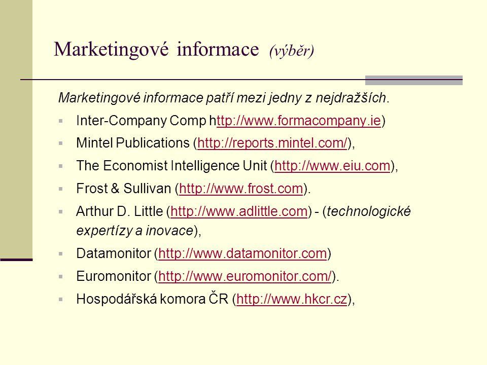 Marketingové informace (výběr) Marketingové informace patří mezi jedny z nejdražších.