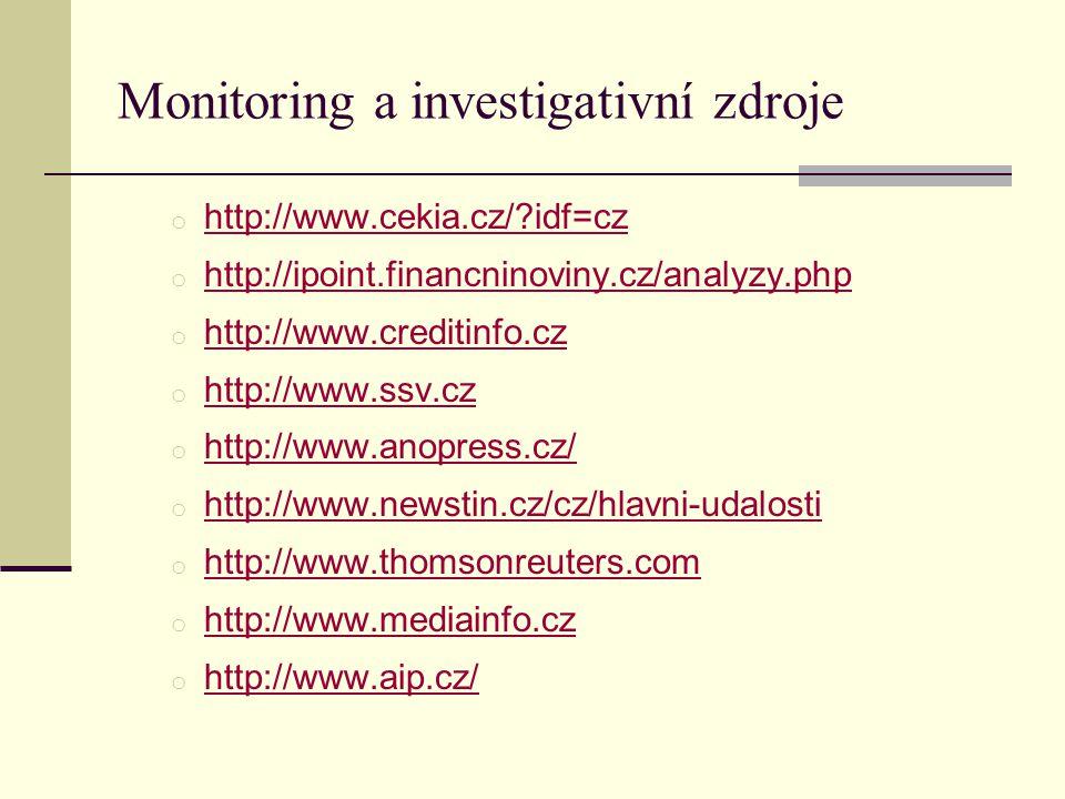 Monitoring a investigativní zdroje o http://www.cekia.cz/ idf=cz http://www.cekia.cz/ idf=cz o http://ipoint.financninoviny.cz/analyzy.php http://ipoint.financninoviny.cz/analyzy.php o http://www.creditinfo.cz http://www.creditinfo.cz o http://www.ssv.cz http://www.ssv.cz o http://www.anopress.cz/ http://www.anopress.cz/ o http://www.newstin.cz/cz/hlavni-udalosti http://www.newstin.cz/cz/hlavni-udalosti o http://www.thomsonreuters.com http://www.thomsonreuters.com o http://www.mediainfo.cz http://www.mediainfo.cz o http://www.aip.cz/ http://www.aip.cz/