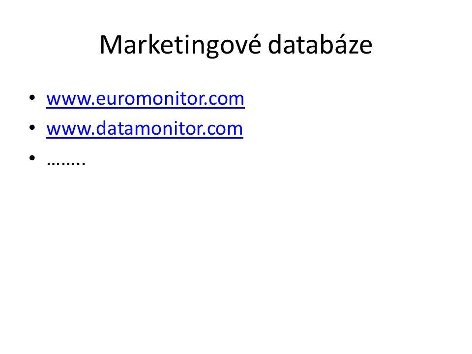 Marketingové databáze www.euromonitor.com www.datamonitor.com ……..