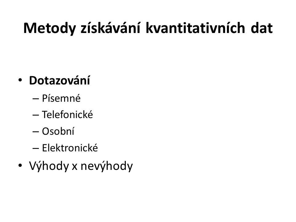 Metody získávání kvantitativních dat Dotazování – Písemné – Telefonické – Osobní – Elektronické Výhody x nevýhody