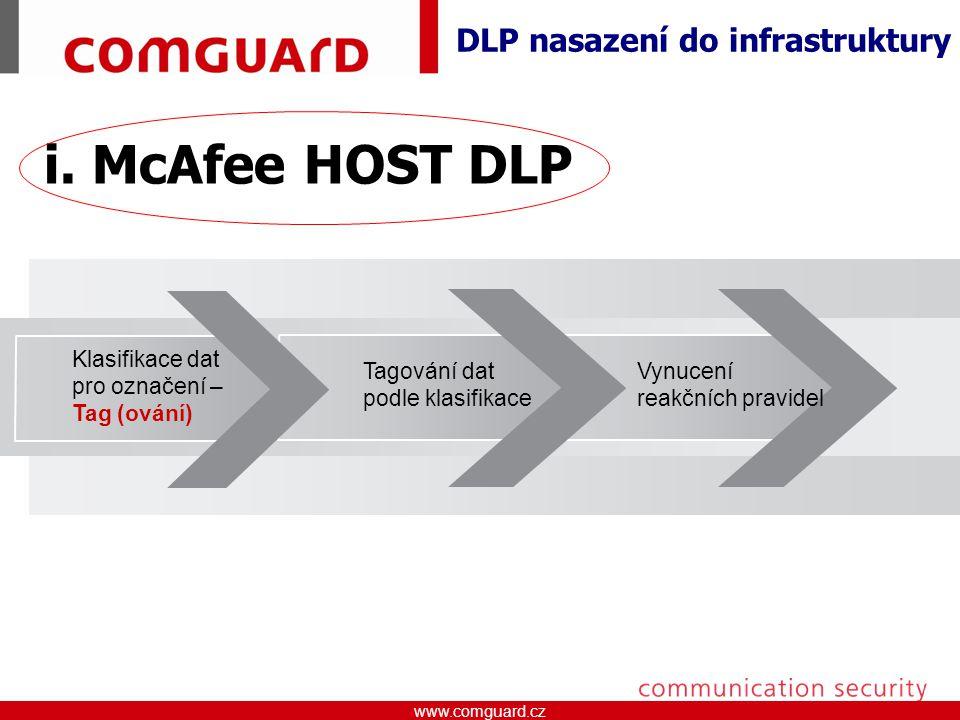 www.comguard.czcommunication security www.comguard.cz Vynucení reakčních pravidel Tagování dat podle klasifikace Klasifikace dat pro označení – Tag (ování) DLP nasazení do infrastruktury i.
