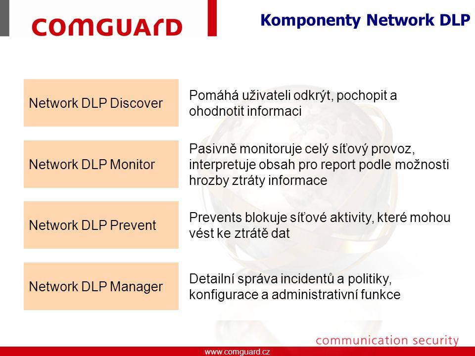 www.comguard.czcommunication security www.comguard.cz Network DLP Manager Detailní správa incidentů a politiky, konfigurace a administrativní funkce Network DLP Prevent Prevents blokuje síťové aktivity, které mohou vést ke ztrátě dat Network DLP Monitor Pasivně monitoruje celý síťový provoz, interpretuje obsah pro report podle možnosti hrozby ztráty informace Network DLP Discover Pomáhá uživateli odkrýt, pochopit a ohodnotit informaci Komponenty Network DLP