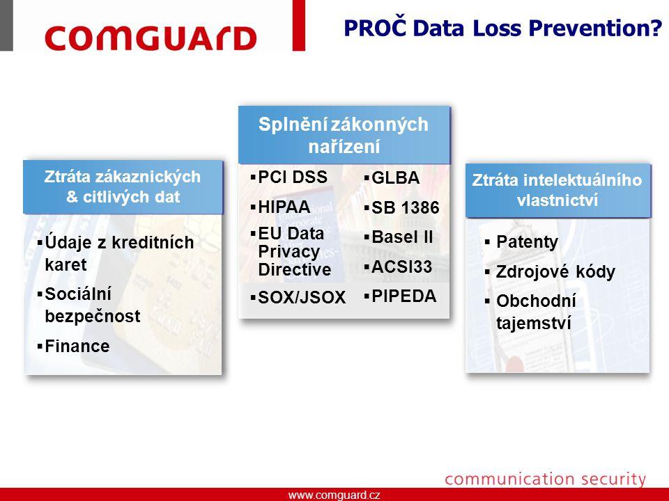 www.comguard.czcommunication security www.comguard.cz Ztráta intelektuálního vlastnictví Ztráta zákaznických & citlivých dat Ztráta zákaznických & citlivých dat  Údaje z kreditních karet  Sociální bezpečnost  Finance  Patenty  Zdrojové kódy  Obchodní tajemství Splnění zákonných nařízení  PCI DSS  HIPAA  EU Data Privacy Directive  SOX/JSOX  GLBA  SB 1386  Basel II  ACSI33  PIPEDA PROČ Data Loss Prevention?