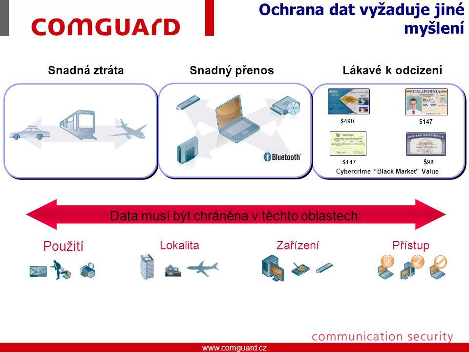 www.comguard.czcommunication security www.comguard.cz Data Loss Prevention Device Control Device Control Encrypted USB Endpoint Encryption Endpoint Encryption McAfee Endpoint Encryption Širování disků, adresářů a obsahu souborů certifikovaným alforitmem McAfee Data Loss Prevention Plná kontrola a absolutní přehled o pohybu dat (Host a Network) McAfee Encrypted USB Šifrované USB flash disky jsou bezpečné úložiště McAfee Device Control Zabraňuje neoprávněmému používání připojitelných zařízení do firemní sítě McAfee Total Protection ™ for Data Integrovaná technologie pro ochranu dat McAfee Total Protection™ for Data