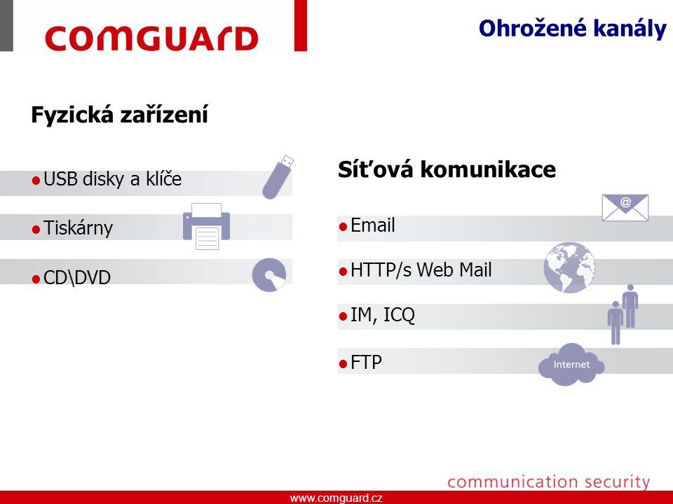www.comguard.czcommunication security www.comguard.cz Druhy reakčních pravidel Email Ochrana klasifikovaných dat před zneužitím odesláním emailem Možnost definice příjemce Podpora Microsoft Outlook a Lotus Domino Vyjímatelná média Ochrana klasifikovaných dat před kopírováním na vyjímatelné média Například USB klíče, iPod, Externí disk atd.