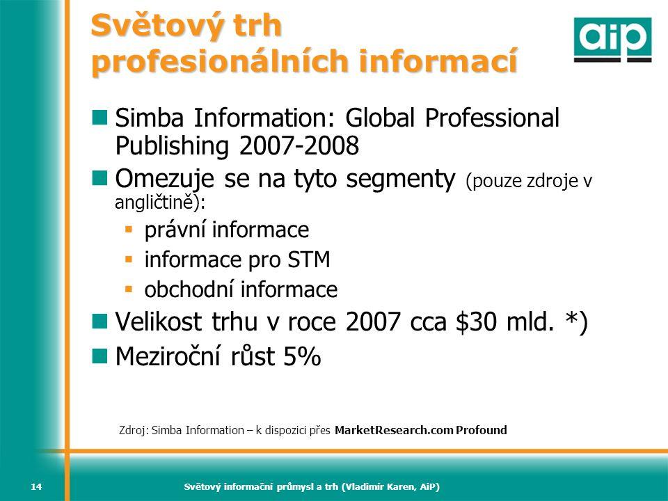 Světový informační průmysl a trh (Vladimír Karen, AiP)14 Světový trh profesionálních informací Simba Information: Global Professional Publishing 2007-