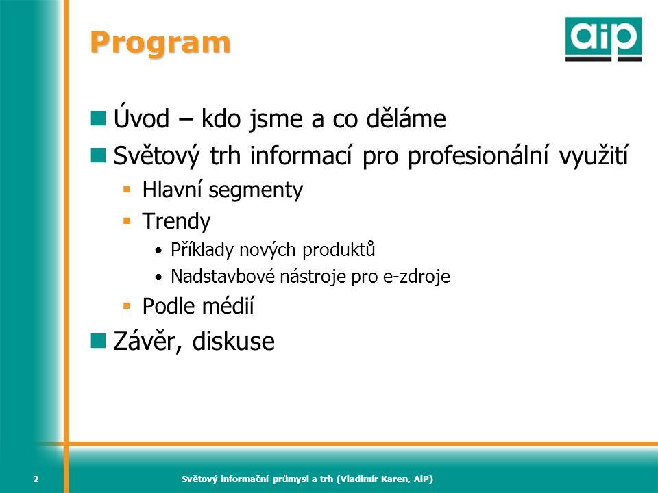 Světový informační průmysl a trh (Vladimír Karen, AiP)2 Program Úvod – kdo jsme a co děláme Světový trh informací pro profesionální využití  Hlavní s