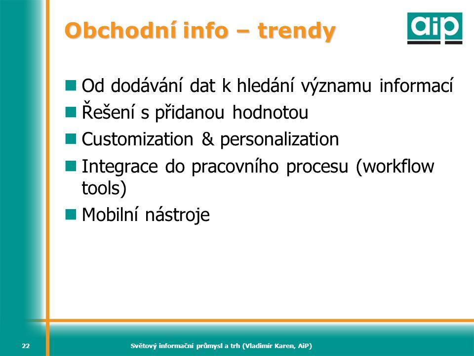 Světový informační průmysl a trh (Vladimír Karen, AiP)22 Obchodní info – trendy Od dodávání dat k hledání významu informací Řešení s přidanou hodnotou