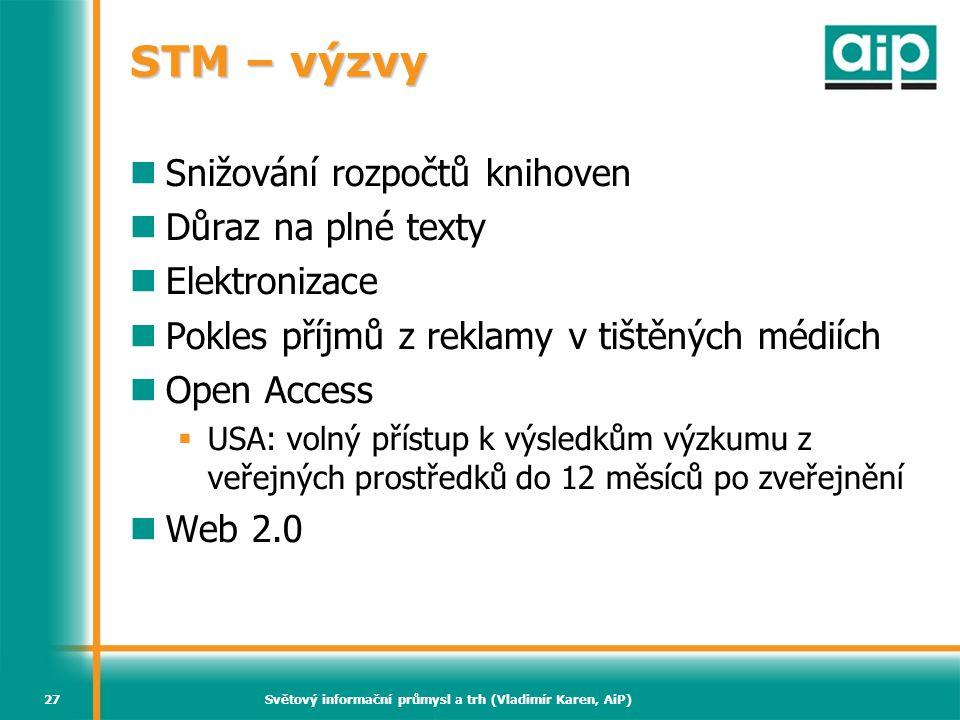 Světový informační průmysl a trh (Vladimír Karen, AiP)27 STM – výzvy Snižování rozpočtů knihoven Důraz na plné texty Elektronizace Pokles příjmů z rek