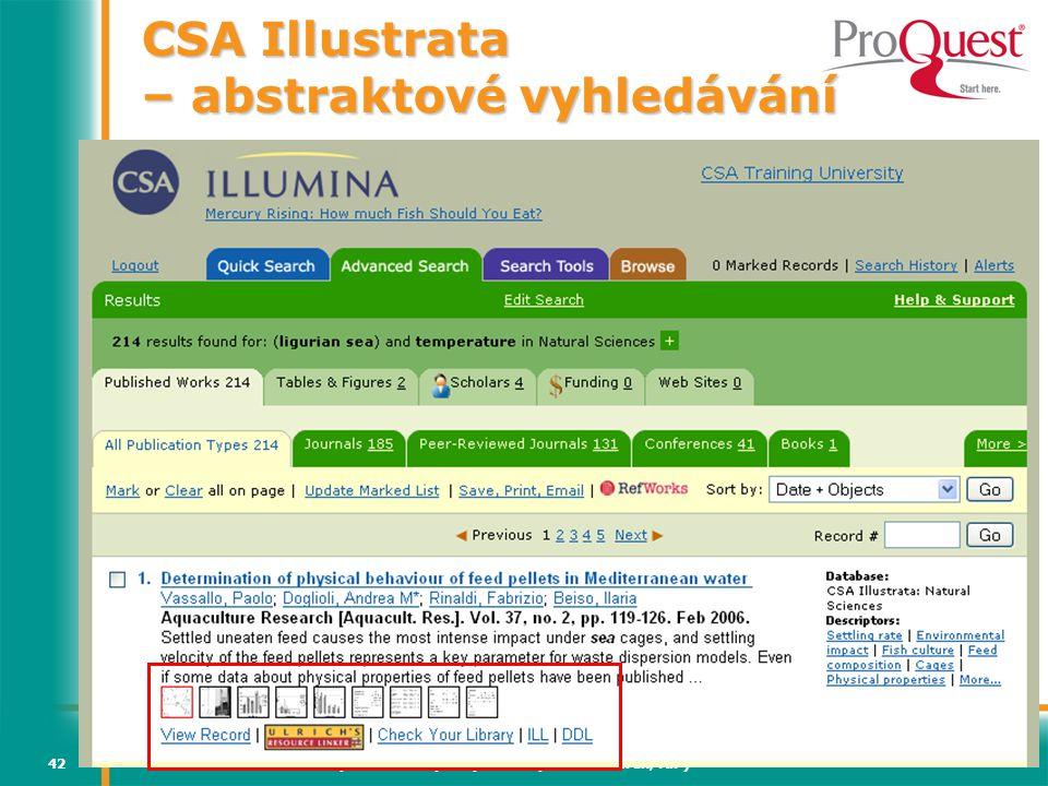 Světový informační průmysl a trh (Vladimír Karen, AiP)42 CSA Illustrata – abstraktové vyhledávání