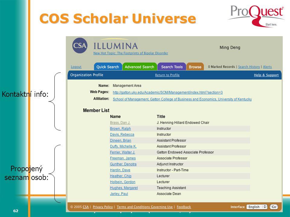Světový informační průmysl a trh (Vladimír Karen, AiP)62 Kontaktní info: Propojený seznam osob: COS Scholar Universe
