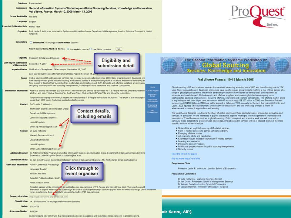 Světový informační průmysl a trh (Vladimír Karen, AiP)68 PapersInvited