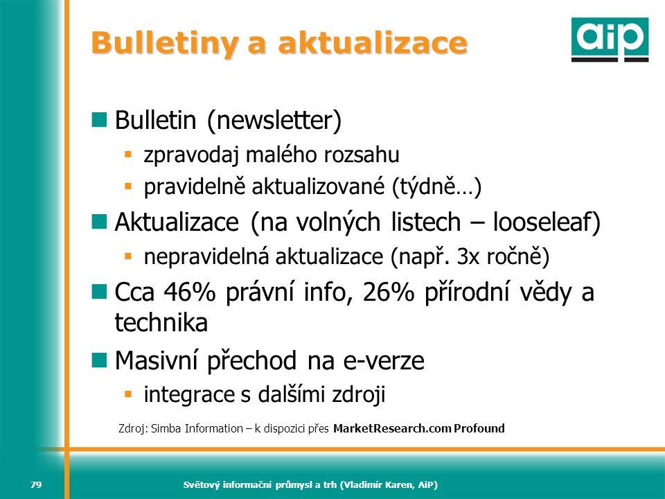 Světový informační průmysl a trh (Vladimír Karen, AiP)79 Bulletiny a aktualizace Bulletin (newsletter)  zpravodaj malého rozsahu  pravidelně aktuali