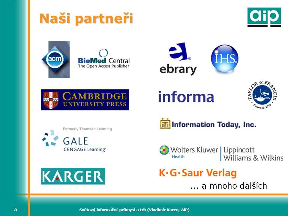 """Světový informační průmysl a trh (Vladimír Karen, AiP)89 """"Čtyři C ERAMS ERAMS vyžaduje, aby poskytovatel vyvinul nástroje k dosažení 4 zásadních cílů  Collect – sběr dat pro širokou knowledgebase e- zdrojů  Correct – aktualizace knowledgebase pro zachování přesných údajů  Connect – propojení lidí s odpověďmi nejlepší možnou metodou  Control – řízení rozpočtu, kolekcí a procesů při současné optimalizaci hodnoty"""