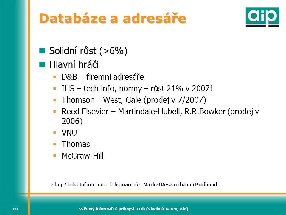 Světový informační průmysl a trh (Vladimír Karen, AiP)80 Databáze a adresáře Solidní růst (>6%) Hlavní hráči  D&B – firemní adresáře  IHS – tech inf