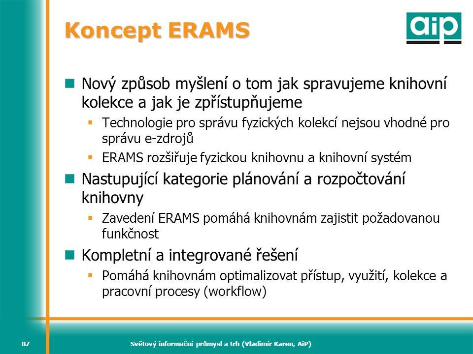 Světový informační průmysl a trh (Vladimír Karen, AiP)87 Koncept ERAMS Nový způsob myšlení o tom jak spravujeme knihovní kolekce a jak je zpřístupňuje