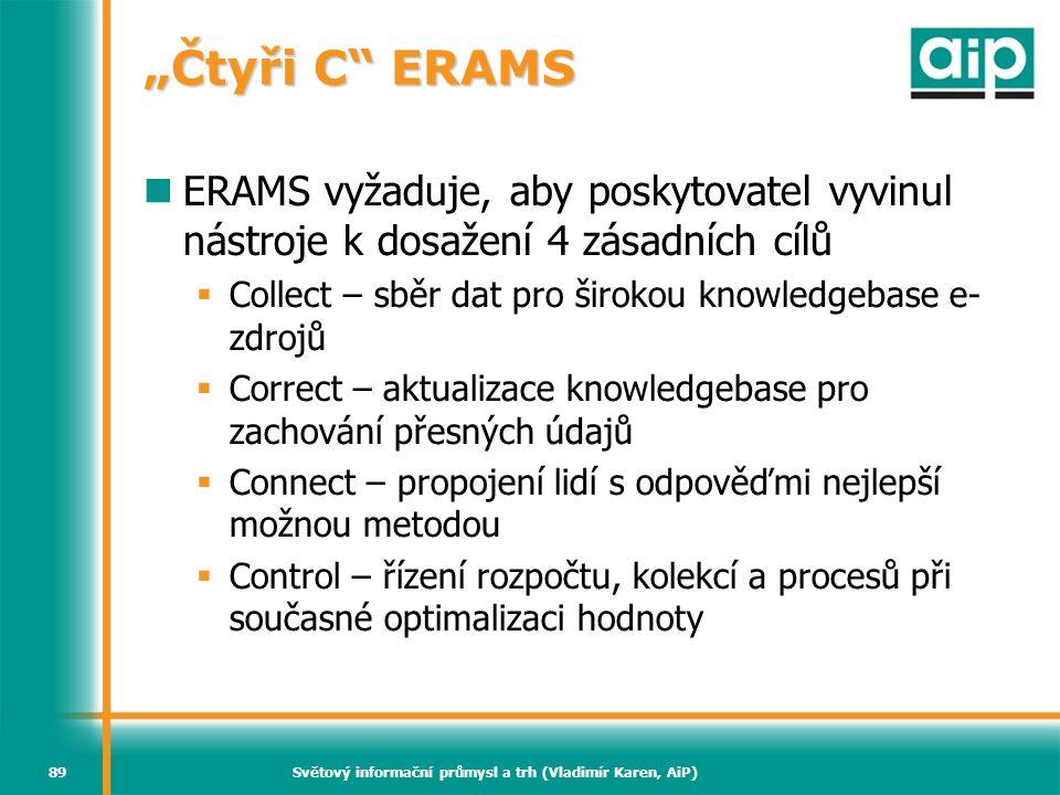 """Světový informační průmysl a trh (Vladimír Karen, AiP)89 """"Čtyři C"""" ERAMS ERAMS vyžaduje, aby poskytovatel vyvinul nástroje k dosažení 4 zásadních cílů"""