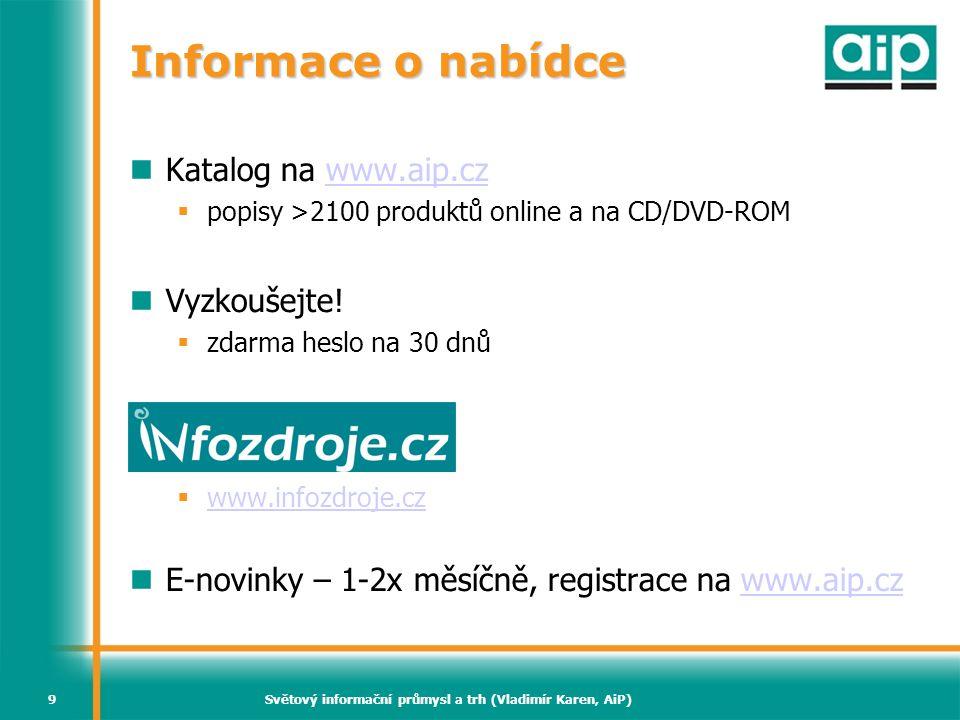 Světový informační průmysl a trh (Vladimír Karen, AiP)80 Databáze a adresáře Solidní růst (>6%) Hlavní hráči  D&B – firemní adresáře  IHS – tech info, normy – růst 21% v 2007.