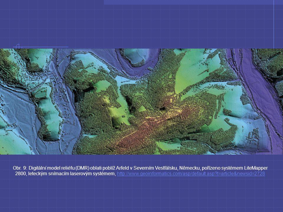Obr. 9: Digitální model reliéfu (DMR) oblati poblíž Arfeld v Severním Vestfálsku, Německu, pořízeno systémem LiteMapper 2800, leteckým snímacím lasero