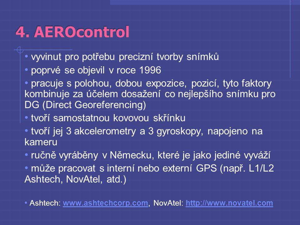 """jednotka AEROcontrol zaznamenává data z IMU (Inertial Measurement Unit ) a z GPS přijímače na PC kartu pro pozdější užití """"real-time data poskytuje CCNS jednotka pracuje sama nebo ve spolupráci s CCNS Obr."""