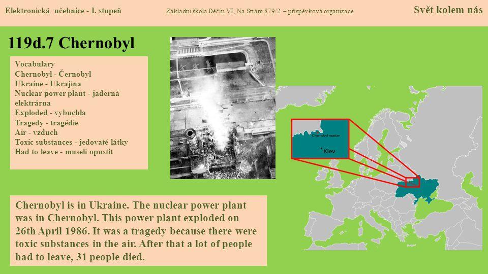 119d.7 Chernobyl Elektronická učebnice - I. stupeň Základní škola Děčín VI, Na Stráni 879/2 – příspěvková organizace Svět kolem nás Chernobyl is in Uk